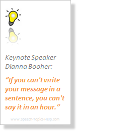 Dianna Booher keynote speaker defines the info public speaking rules