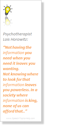 Lois Horowitz Psychotherapist recapitulates psychology speech topics to our hunger for information